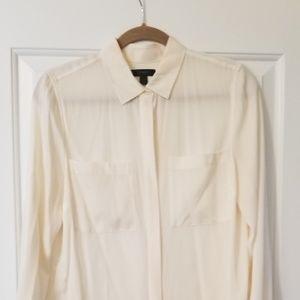 J Crew Cream Silk Button Up Blouse Size 6